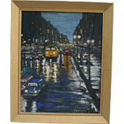 1959 Paris Night Street Scene Oil Paintng  By Hannet Acker Barre VT Impressionist Exhibited At The Paleteers Art Show 1961
