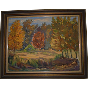 Large Impressionist Autumn Trees Fall Landscape Oil Painting by Janis Silins Listed Artist  (Latvia / New Jersey) Signed