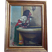 """Enchanting Oil Painting after Leon Bonnat """"Roman Girl at Fountain"""" Artist Signed"""