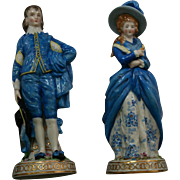 Antique German Porcelain Gold Anchor Mark Blue Boy and Lady Figurines