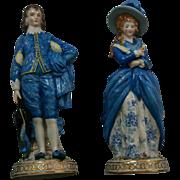 Antique 19th Century German Porcelain Blue Boy and Lady Figurines Edme Samson Chelsea