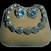 Hearts Sterling Silver Blue Topaz & Marcasite Bracelet & Earrings Set