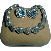 Hearts Sterling Silver Blue Topaz & Marcasite Bracelet & Earrings Set