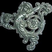 Sterling Cherub Art Nouveau Brooch Angel