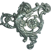 Sterling Silver Cherub Art Nouveau Brooch Angel