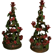 Mid Century NYC Christmas Tree Sculptures Candelabra ~ Artist Signed
