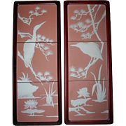 Franklin Mint Pair Parian Tile Wall Plaques Tranquil Waters by George McMonigle