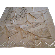Vintage Never Used w/ Original Label Made in Italy Tablecloth & 12 Napkins Beige Linen Embroidered Cutwork Fancy Beige Thanksgiving