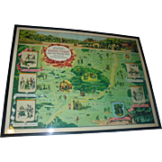 Rare 1955 Robin Hood Sherwood Forest Framed Literary Pictorial Map by Harris - Seybold Co Ohio