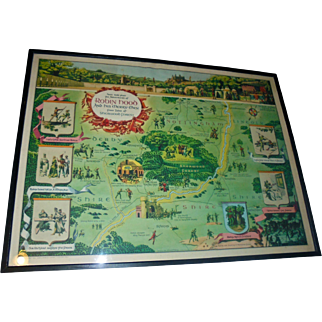 Robin Hood Sherwood Forest Rare 1955 Framed Literary Pictorial Map by Harris - Seybold Co Ohio