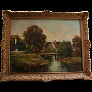 """Dusk"" by Josef Krotter Large Bucolic Landscape Farm Oil Painting"