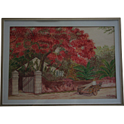 """Royal Poinciana Trees Bermuda"" Artist Signed Watercolor"