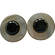 Gorgeous MOP Onyx Omega Back Signed Earrings