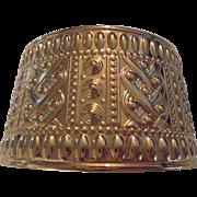 Gorgeous Etruscan Revival Monet Gold Tone Cuff Bracelet