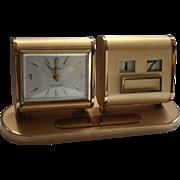 Engravable Mid Century Mod Desk Clock Linden Germany 7 Jewels Date & Time
