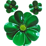 Gorgeous Green Enamel Flower Power Brooch & Earrings Set