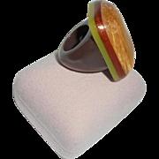 Monies Chunky Horn and Cornsilk Encased Ring