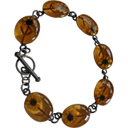 Daisies Encased Sterling Silver Amber Lucite Link Bracelet Signed Fall Autumn Colors