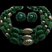 Emerald-Green Peking Glass Triple Strand Necklace & Earrings Set