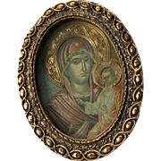 Greek Madonna and Child Religious Icon Christian Art
