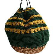 Beautiful Vintage Kelly Green & Yellow Basket / Croquet Drawstring Beehive Purse Rockabilly 1950s Handbag
