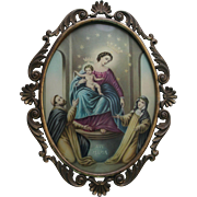 Our Lady of The Rosary Vintage Lithograph Convex Glass in Oval Ornate Metal  Frame Catholic Christian Art
