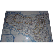 Sicily Italy Map Original Hand Drawn & Painted Map Mid-Century Highly Detailed Painting Framed