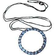 26 Diamonds 14K White Gold Circle Pendant Necklace