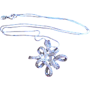 Pave Diamond Sterling Silver Pendant Necklace 925 Italy
