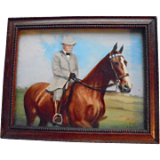 1949 3D Painting Theodore Roosevelt On Horseback Portrait Reverse Painted US History President