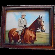 Vintage 1949 3D Painting Theodore Roosevelt On Horseback Portrait Reverse