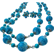 Outstanding Vendome Turquoise- Blue Nugget and Austrian AB Crystal Double Strand Extra long Necklace and Cluster Earrings Demi Parure Set