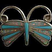 Zuni Sterling Silver Opal Turquoise Butterfly Pendant brooch