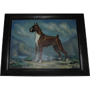 1960's American Champion Boxer Dog Oil Painting Ch. Dempsey's Copper Gentleman by Missouri Artist / Illustrator Dalton Shourds King