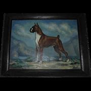 American Boxer Dog Oil Painting by Missouri Artist / Illustrator Dalton Shourds King
