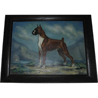 1960's American Champion Boxer Dog Oil Painting Ch. Dempsey's Copper Gentleman by Missouri Artist / Illustrator Dalton Shourds King