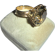 HUge 27.5 TCW 14K Smoky Quartz Magnificent Statement Vintage Cocktail Ring Size 6.75 Yellow Gold