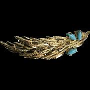 18K Gold Persian Turquoise Autumn Leaf Modernist Mid-Century Mod MCM Brooch Brutalist
