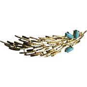 18K Gold Persian Turquoise Autumn Leaf Modernist Mid-Century Brooch Brutalist