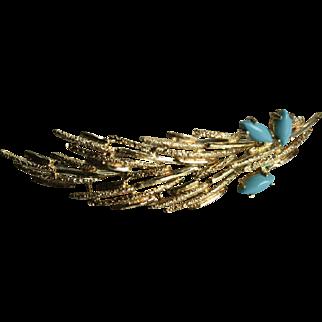 "2 3/8"" 18K Gold Persian Turquoise Autumn Leaf Modernist Mid-Century Mod MCM Brooch Brutalist"