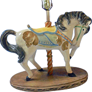 Large Apsit Bros of California Beautiful Carousel Show Horse Lamp