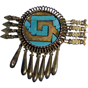 Sterling Silver Native American Vermeil Turquoise Arrows Figural Brooch