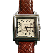 Large Sterling Ecclissi Watch Unisex Braided Leather Band Vintage Mens Womens Timepiece