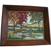 Beautiful Upstate New York Landscape Mid Century Oil Painting Signed by Artist  H. Langford