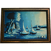 Large Haitian Moonlight Seascape Fisherman Beach Night Scene Mid Century Oil Painting in Ornate Frame Applied with Roses