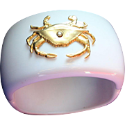 Summer White Lucite Crab Theme Clamper Cuff Vintage Bangle Bracelet