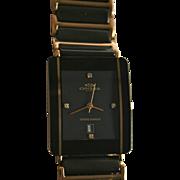 Mens Oniss Paris Genuine Diamond & 18K Gold Plated Swiss Made Black Ceramic Waterproof Watch