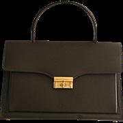MInty! Marchioness Vintage 1960s Accordion Handbag Chocalate Brown Brass Hardware Like New