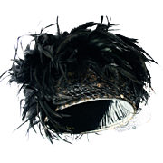 Vintage Couture Black Feather and Sequin Hat by Whittall & Shon NYC