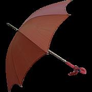 Pretty Pink Coral Lucite Handle Vintage Ladies Parasol Umbrella